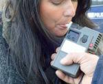 Woman Taking Breathalyzer Test