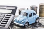 Blue car with a calculator and coins.